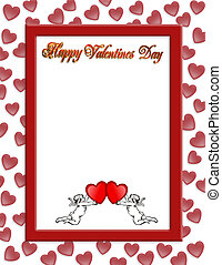 Valentines day border with 3D text - Illustration...