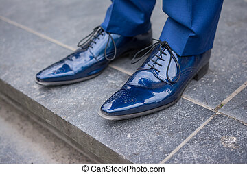 Blue male leather lacquered shoes from groom