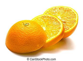 cuted orange - The ripe cuted orange. Isolation on white,...