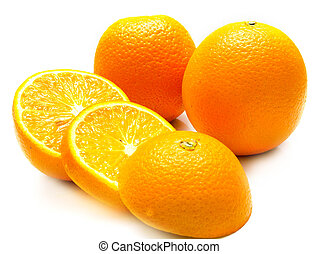 cuted oranges - The ripe cuted oranges. Isolation on white,...