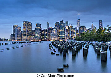 New York City Manhattan Finacial District panorama at dawn...