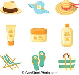 Sun creams. Hats. Beach accessroies. - Sun protection...