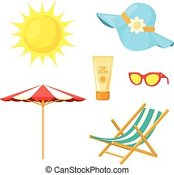 Sun, deck chair, sun protective accessories. - Summer beach...