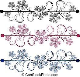 Vector ornamental flag - It is a set of three flags in...