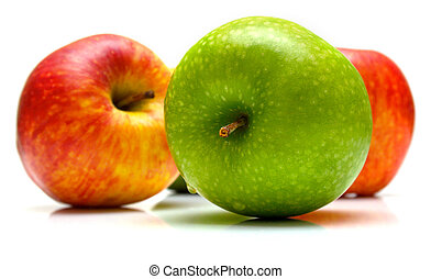 Red and green apples on the white background. Isolated.