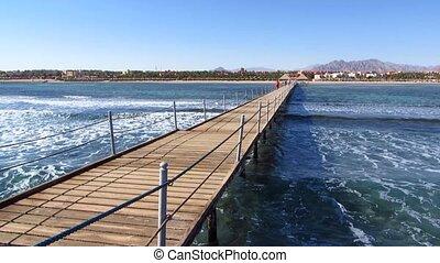 Wooden pontoon at a resort in Sharm El-Sheikh in Egypt