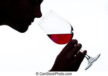 homem, cheirando, vinho