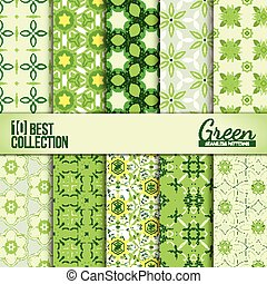 Spring summer backdrops collection - Green floral seamless...