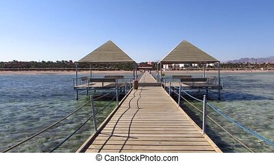 Wooden pontoon at a resort in Sharm El-Sheikh in Egypt