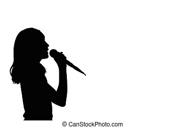 girl singing silhouette
