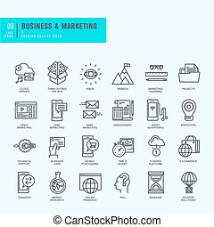 Thin line icons set - Icons for business, marketing,...
