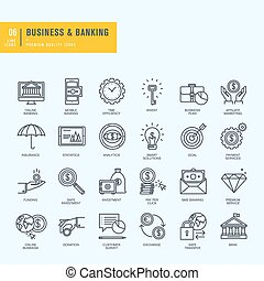 Thin line icons set - Icons for business, banking, e-banking