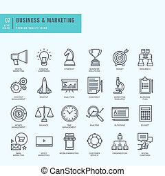 Thin line icons set - Icons for business, digital marketing