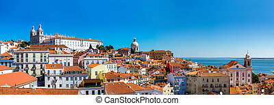 Panorama of Lisbon - Famous Dome of Santa Engracia and hill...
