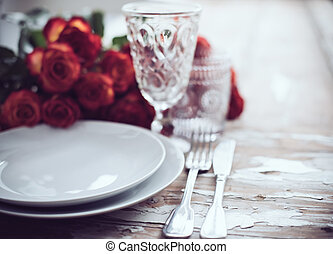 table decor - Vintage table setting with glasses and cutlery...