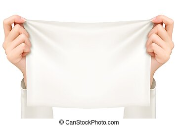 Hands holding a piece of cloth - banner. Vector.