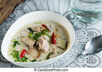 Tom Kha Gai - Coconut milk with chicken. Traditional thai...