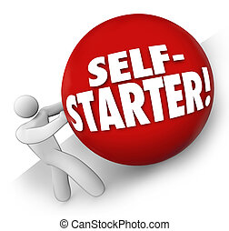 Self-Starter Man Rolling Ball Uphill Entrepreneur Startup Business Worker Owner