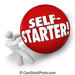 Self-Starter Man Rolling Ball Uphill Entrepreneur Startup...