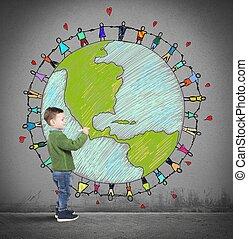 solidaridad, mundo, de, Un, niño,