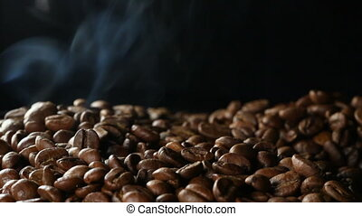 coffee beans - close up of raw coffee beans
