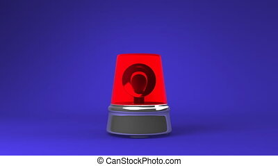 Jumping Red Warning Light On Blue Background