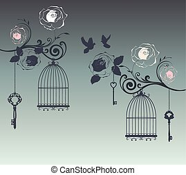 doves - vector bird cages with floral branches