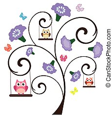 tree floral owl - vector tree with flowers and owls