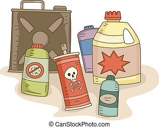 Pesticides - Illustration of a Variety of Pesticides in...