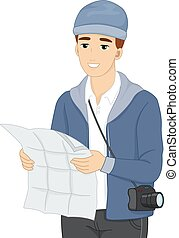 Man Tourist Map - Illustration of a Male Tourist Using a Map...