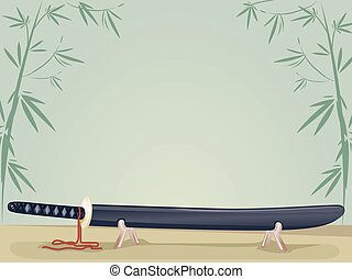 Katana - Background Illustration of a Japanese Sword Resting...