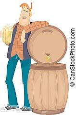 Man Beer Barrel - Illustration of a Man Holding a Pitcher of...