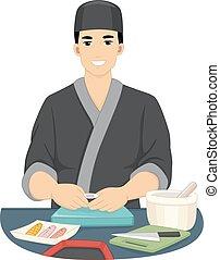 Man Sushi Chef - Illustration of a Male Chef in Kimono...