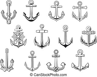 Black outline anchor design elements - Vintage anchor...
