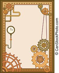 Steam Punk Frame - Steampunk Themed Background Illustration...