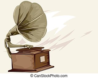Gramophone - Vintage Styled Illustration of a Gramophone...