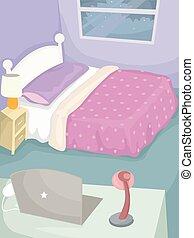 寝室, ラップトップ,