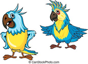 Yellow and blue parrots cartoon characters - Cute colorful...