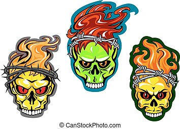 Human skulls with fire and wreaths
