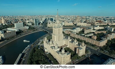 Moscow cityscape with Stalin's high-rise building, aerial...