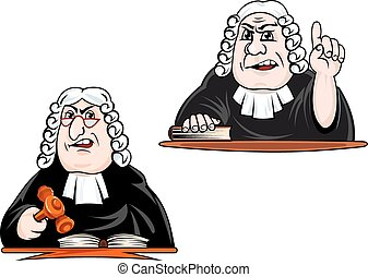 Judge cartoon characters in wig with gavel - Strict judge...
