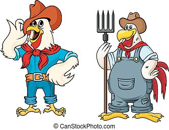 Happy farmer rooster cartoon characters - Farmer rooster...