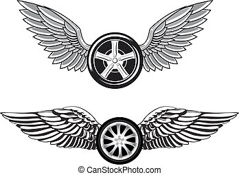 Black wheels with fast gray wings - Wheels with outstretched...