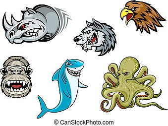 Cartoon eagle, wolf, shark, gorilla, rhino and octopus -...