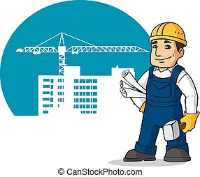 Smiling builder with hummer and plans - Smiling builder in...