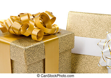 Beautiful golden gifts on a over white background