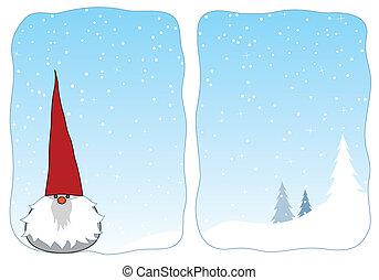 Winter gnome in a snowy window