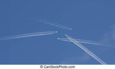Traveling by plane chaos on the blue sky
