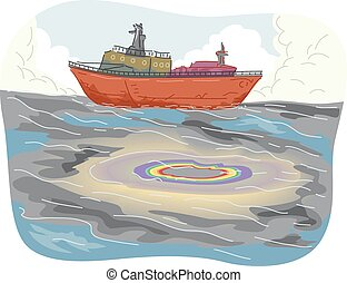 Ship Oil Spill - Illustration of Large Pools of Oil Spill...