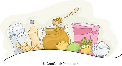Home Remedies Natural Products - Illustration of a Group of...